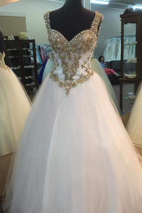 Gold beading sweetheart Prom Dress,white organza ball gowns prom dresses,quinceanera gowns,Long Evening Dress,Elegant Prom Dresses,Floor Length Homecoming Dress