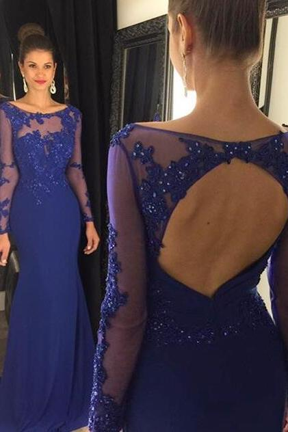 Lace Prom Dress,Princess Prom Dress,Modest Prom Gown,Royal Blue Prom Gown,Elegant Evening Dress,Chiffon Evening Gowns,Long Sleeves Party Gowns