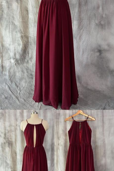 Simple A-line Spaghetti Straps Bridesmaid Dress,Chiffon Burgundy Bridesmaid Dresses, Simple Burgundy Evening Dress,Wedding Formal Dress