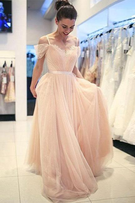 Sweetheart Champagne Tulle Lace Prom Dress,Spaghetti Straps Evening Dresses,Evening Dress Prom Gowns, Formal Women Dress,prom dress, Evening Dresses, Prom Dress,Wedding Formal Dress