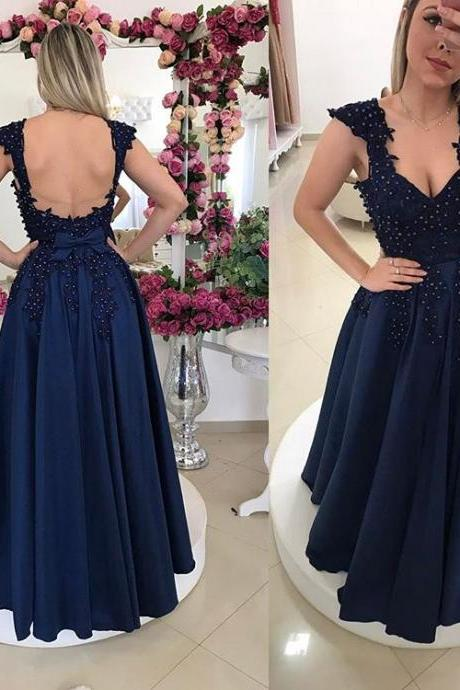 Beaded Navy Blue Evening Gown, Cap Sleeve Formal Gown, Backless Prom Dress With Lace Appliques ,Party Dresses, Evening Dresses