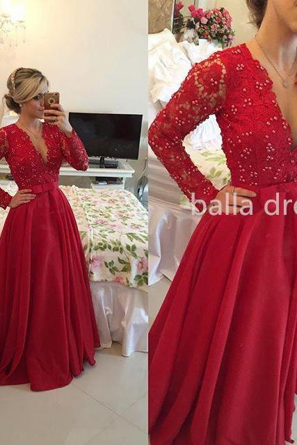 Dee V-Neck Prom Dress,Full Sleeve Prom Dress, Red Prom Dress,Prom Dress,Prom Gown,Long Prom Dress,Beaded Prom Dress