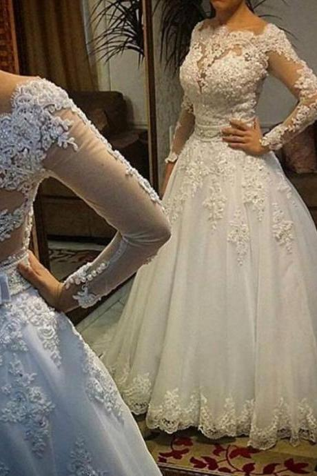 Long Sleeve Wedding Dress, vestidos de noiva Ball Gown ,Bridal Gown ,Luxurious Wedding Dress for Brides