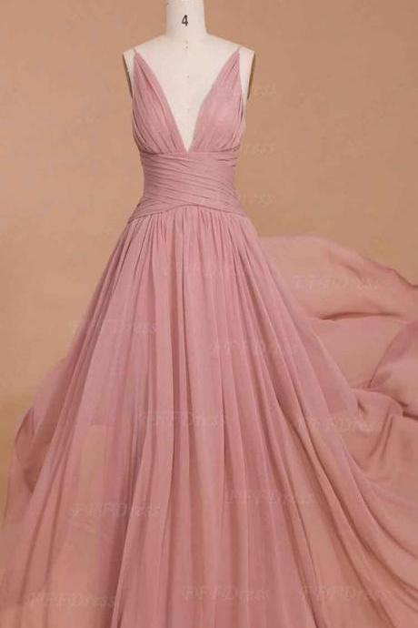 Spaghetti straps prom dress, dusty pink bridesmaid dresses, long prom dresses, deep-V prom dresses