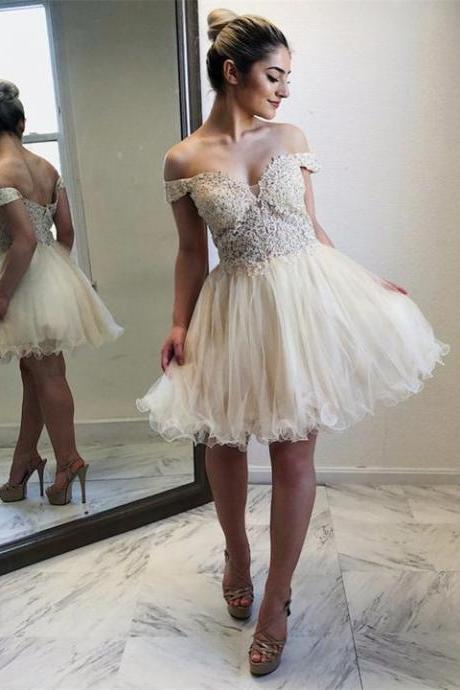 Newest Off-shoulder Lace Appliques Tulle Prom Dress, Short Homecoming Dresses,prom dresses