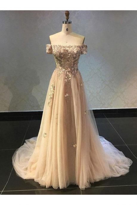 off shoulder long prom dress,elegant tulle evening dress,sweep train party dress