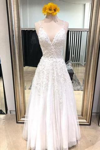 Applique V-Neck Long Wedding Dresses, A-Line Evening Dresses ,Tulle Spaghetti Straps Formal Dresses