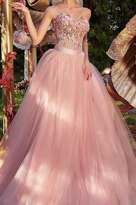 Romantic Tulle Sweetheart Neckline A-line Prom Dress, Prom Dress With Lace Appliques