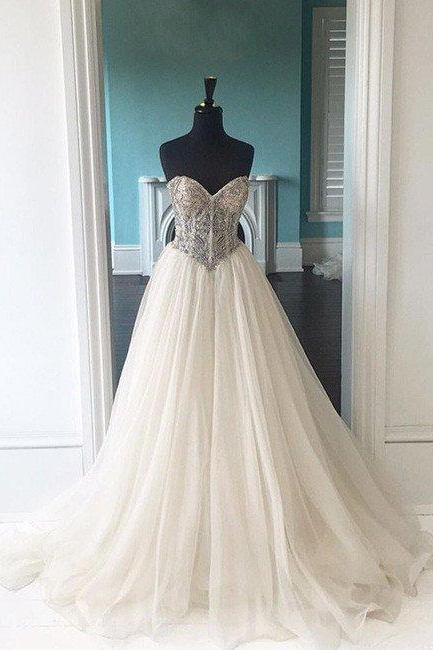 Sweetheart Neck Wedding Dresses,Long Backless Wedding Dress,Elegant Wedding Dresses, Bridal Dress, Bridal Dresses