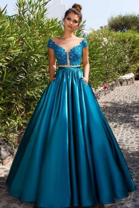llusion Lace Sheer Cap Sleeves A-line Long Prom Dress,Long Prom Dresses, Formal Dress, Evening Dress