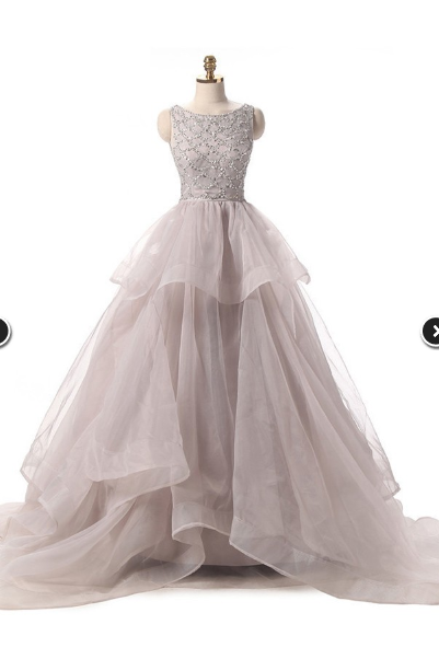 Different Ball Gown Scoop Neck Prom Dress,Organza with Beading Prom Dresses,Sweep Train Backless Prom Dresses,Long Prom Dresses, Formal Dress, Evening Dress