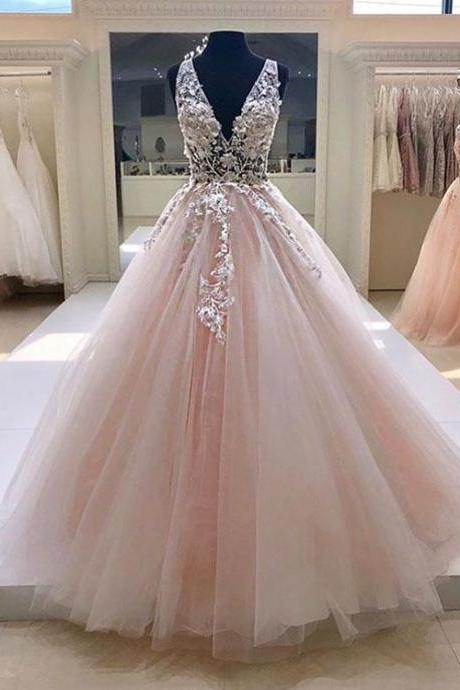 Pink v neck tulle wedding dress,lace long prom dress, pink evening dress