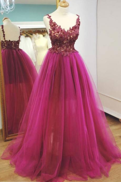 Long Tulle Prom Dresses,Formal Dress,Prom Dress, Lace Appliques Evening Dresses
