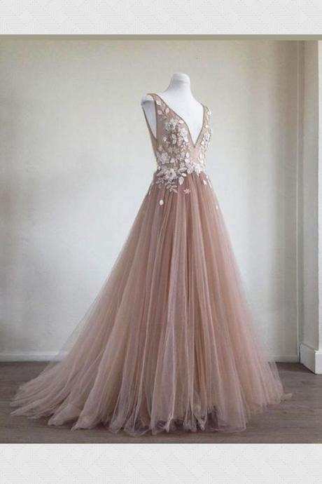 Pink Long Tulle Prom Dresses,Formal Dress,Prom Dress, Lace Appliques Evening Dresses