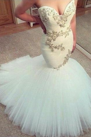 Mermaid prom dress, long prom dress, sweet heart prom dress, white prom dress, charming prom dress, elegant prom dress,impression prom dress