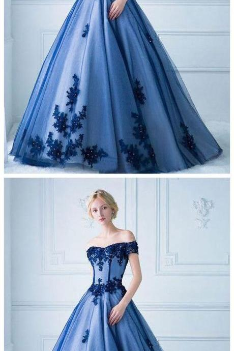 Off Shoulder Party Gown, Sweetheart Long Prom Dress ,Party Dress With Applique, Lace Appliques Evening Dresses