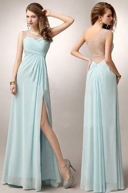 One shoulder Party Gown, Long Prom Dress ,Party Dress With Beading Applique,sexy high slit evening dress