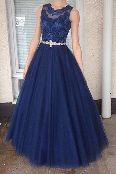 Long Bule Tulle Prom Dresses,Formal Dress,Prom Dress, Lace Appliques Evening Dresses