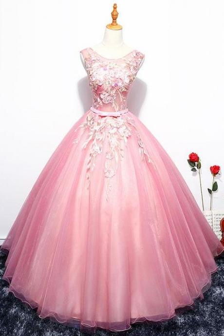 Pink round neck Evening dress, lace tulle long prom dress, a line evening dress,lace applique formal gowns, o neck sleeveless ball gowns, Lace Appliques Evening Dresses