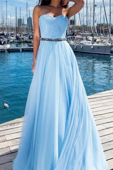 Exquisite Tulle prom gowns,Sweetheart Neckline party dress, A-line Prom Dress With Beadings,Evening Dresses