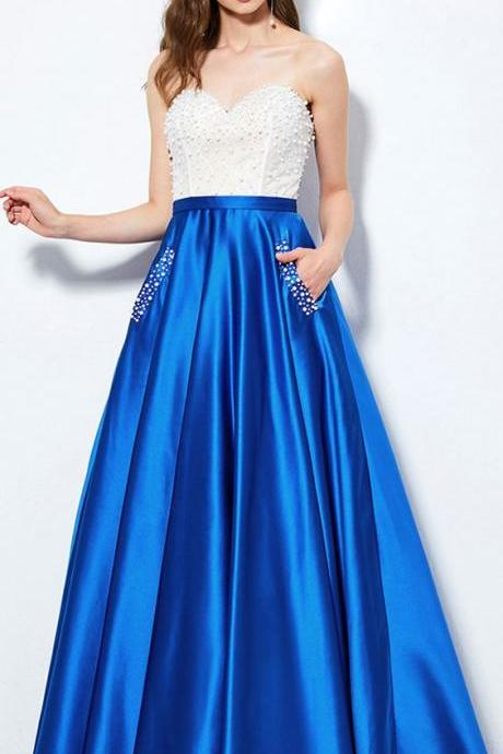 Modest Tulle Satin prom gowns, Sweetheart Neckline party dress, Floor-length evening dress,A-Line Prom Dress With Pockets ,Beadings party gowns,Evening Dresses