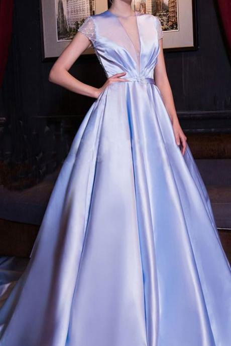 Luxury Satin V-neck Neckline Evening Dresses , Cut-out Short Sleeves part dress, A-line Prom Dress With Beadings & Sash,Evening Dresses