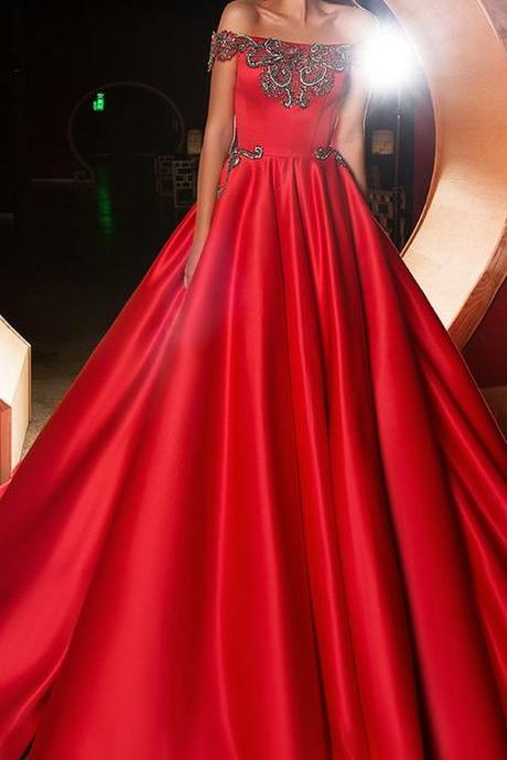 Red Off-the-shoulder Neckline evening dress,A-line Prom Dress With Beadings , Pockets Evening Dresses