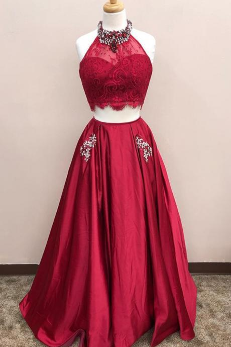 burgundy lace top two pieces prom dresses,floor length A-line beading homecoming dress,Evening Dresses