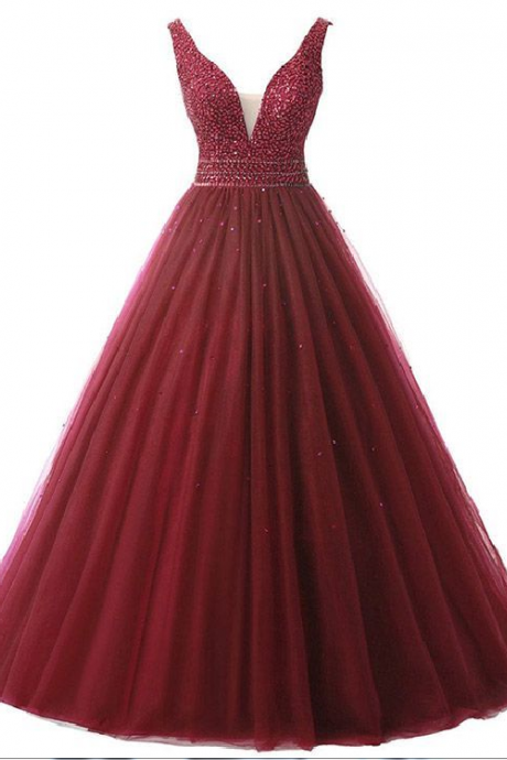 Burgundy Backless Ball Gown Prom Dresses, V-neck Formal Dresses Long,Tulle Beading Evening Party Dresses