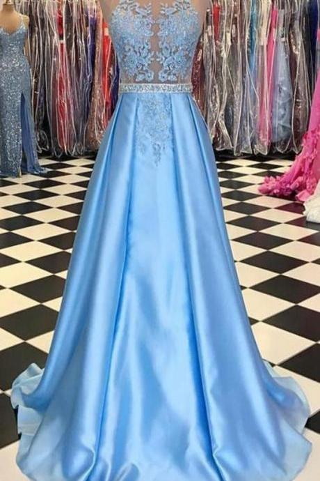 Sexy Sleeveless A Line Blue Prom Dresses for Junior, Long Evening Dress, Elegant Homecoming Dress