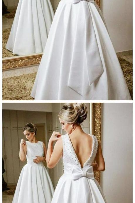 Modest Satin Wedding Dress,Bateau Neckline A-line Wedding Dresses With Beadings,Wedding Dresses