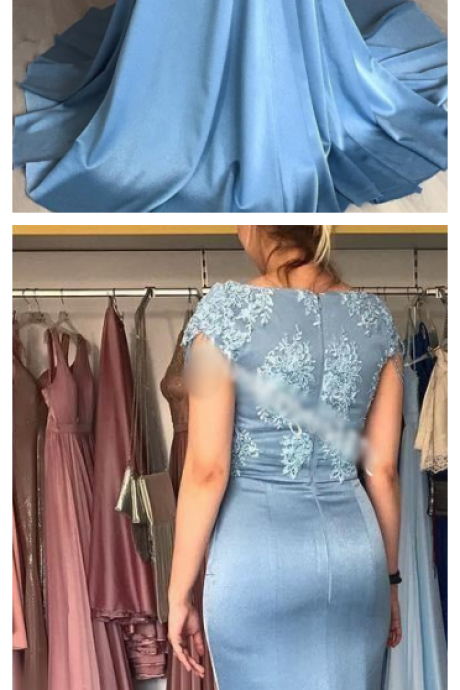 Cheap Mermaid Formal Evening Dresses, Short Sleeve Jewel Lace Prom Dresses,Applique Sweep Train Satin Prom Party Gown ,Plus Size Mother Of Bride Wear