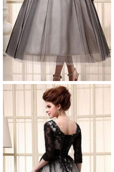 Black Cocktail Dresses Tea Length Half Sleeves Cheap In Stock Scoop Tulle Lace Up Applique A-Line Women Evening Gowns Party Prom Dress