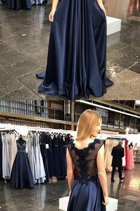 A Line V Neck Floor Length Navy Blue Prom Dress with Appliques Beading ,Evening Dresses