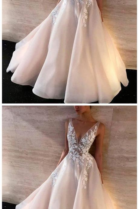 White v neck lace long prom dress, white lace evening dress,Evening Dresses