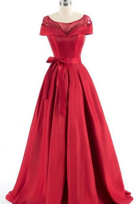Red shoulder evening dresses, luxury intermittently prom dresses,long bridge wear evening dress