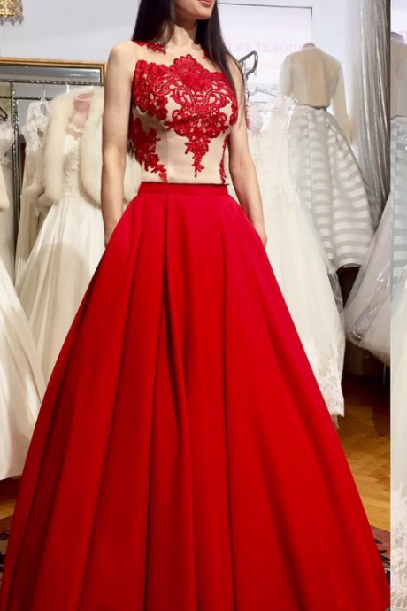 Red Long Prom Dress, Formal Evening Dress,Appliques Beading Evening Dresses