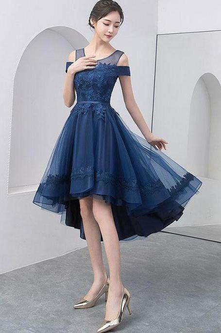Navy Blue Prom Dress with Appliques Beading ,Evening Dresses