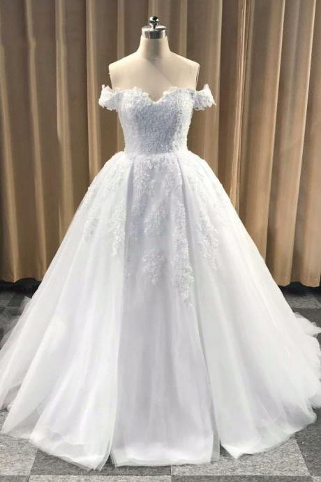 Glamorous Ball Gown Off-The-Shoulder White Long Wedding Dress With Applique