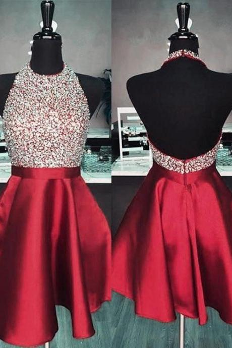 Cute burgundy short homecoming dresses, homecoming dresses, Sweet 16 Birthday Gowns, Charming Prom Dresses