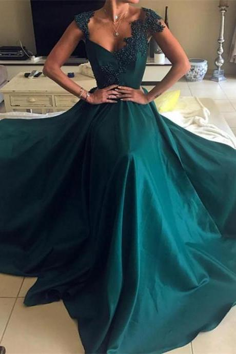 Gorgeous Satin V-neck Neckline Prom Dresses,Cap Sleeves A-line Prom Dresses , Long Evening Dress, Charming Prom Dresses ,Evening Dresses