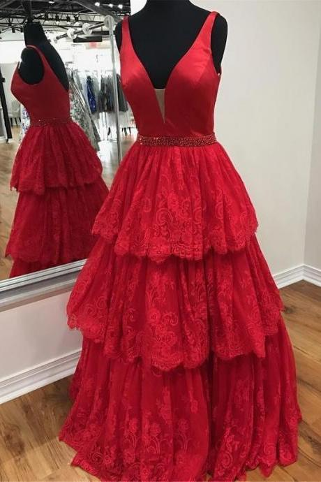 Red Satin Prom Dresses,Lace Evening Dress,A-Line Prom Dress , Long Evening Dress, Charming Prom Dresses