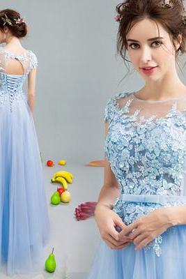 Bule Tulle Prom Dresses,Appliques Pom Dress,A-Line Prom Dress , Long Evening Dress, Charming Prom Dresses