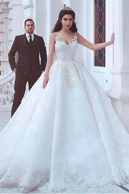 Lace V-neck Neckline Wedding Dress,Ball Gown Wedding Dresses ,Lace Appliques Wedding Dresses,Beadings Bridal Dress,Custom Made,New Fashion