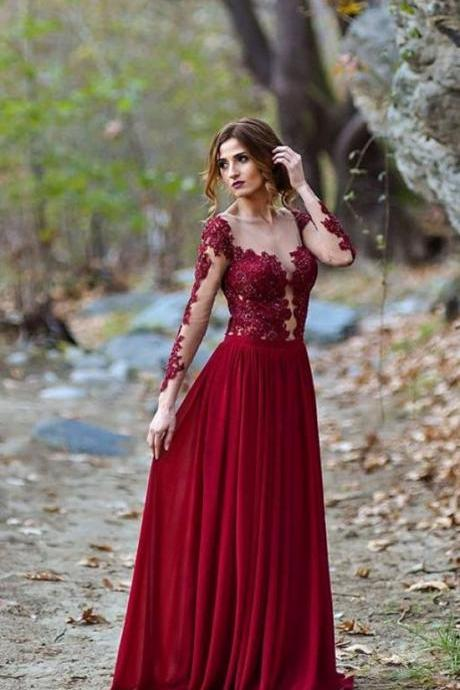 Burgundy Appliques Prom Dresses, Long Sleeve Prom Dress, Sexy See Though Evening Dress,Custom Made,New Fashion ,Evening Dresses
