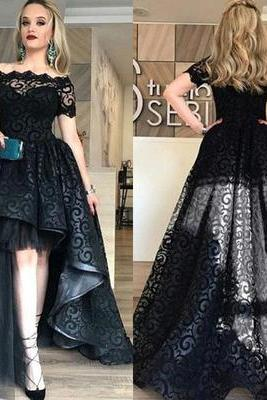 Hi-Lo Short Sleeve Black Off-the-shoulder Prom Dresses,Lace Prom Dresses,Evening Gown,Custom Made,New Fashion Evening Dresses