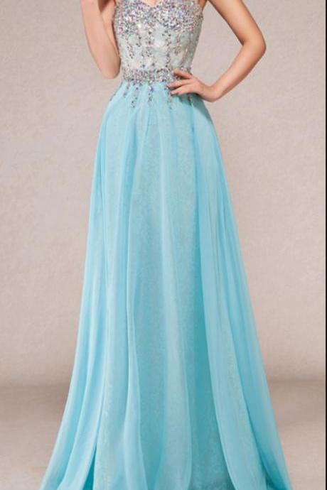 Elegant Exquisite Sky Blue Prom Dresses,Floor Length Prom Dress,Beaded Top with Chiffon Skirt Formal Party Gowns,Floor Length Formal Dress,Sexy Formal Evening Dresses