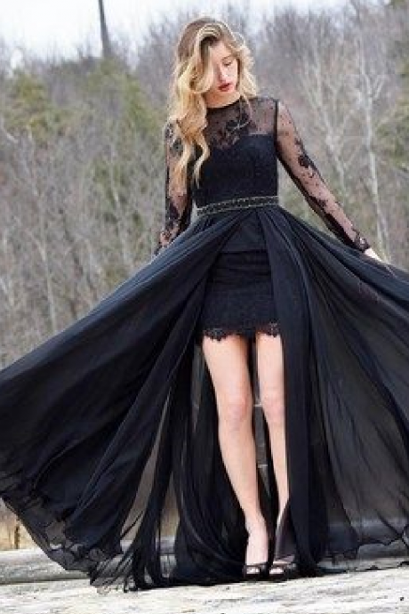 Gorgeous Long Sleeves Black Prom Dress with Train,Sexy Formal Evening Dress,Custom Made,New Fashion Evening Dresses