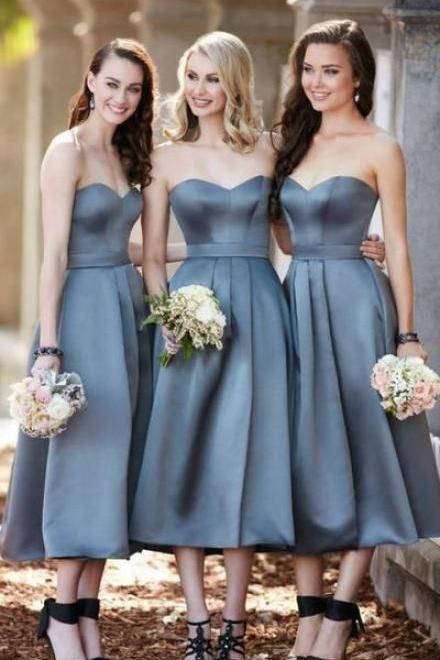 Grey Bridesmaid Dress, Midi Cocktail Bridesmaid Dresses for Women,Sexy Formal Evening Dress,Bridesmaid Dresses