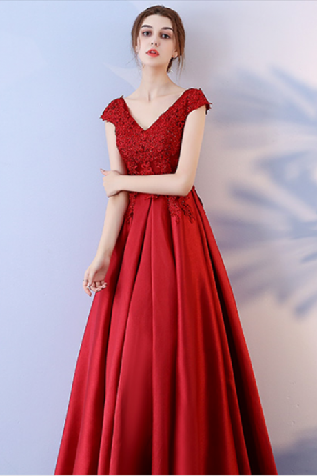 Red Long Prom Dresses, A-Line Prom Dress, Prom Dresses , Long Prom Dresses ,Evening Dresses